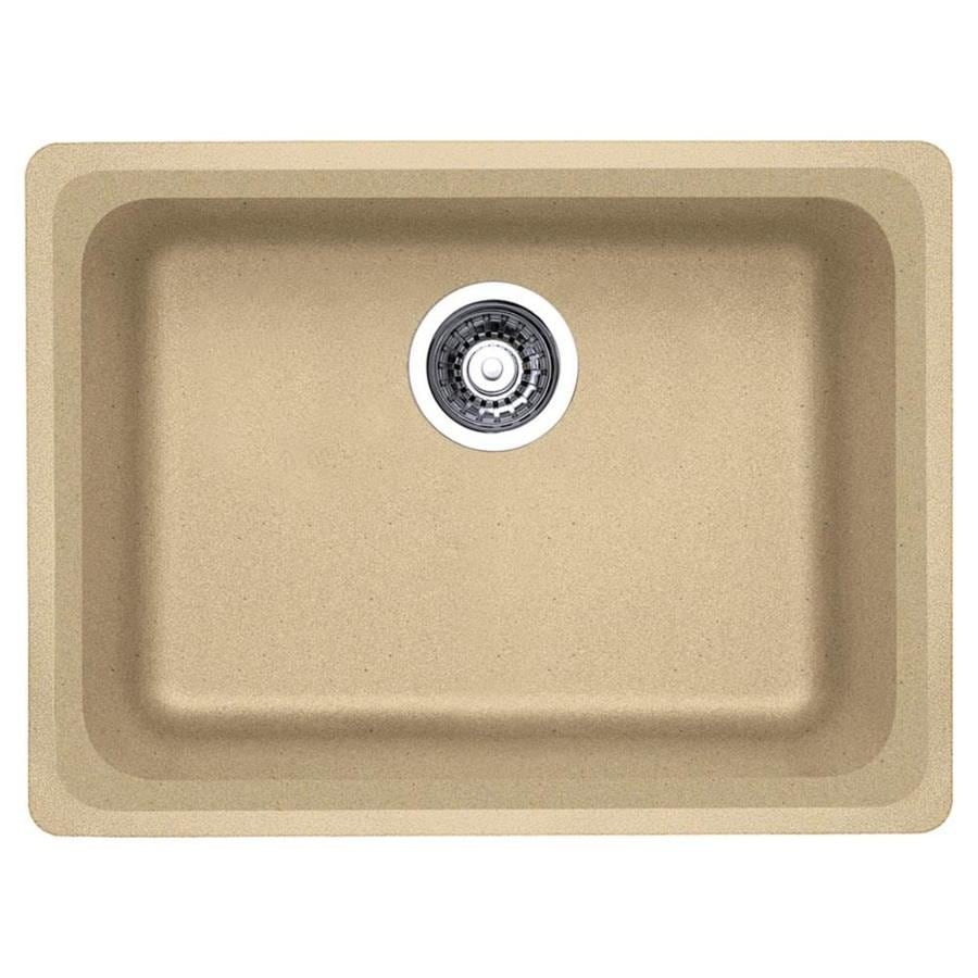 BLANCO Vision 18-in x 24-in Biscotti (Off-white) Single-Basin Granite Undermount Residential Kitchen Sink