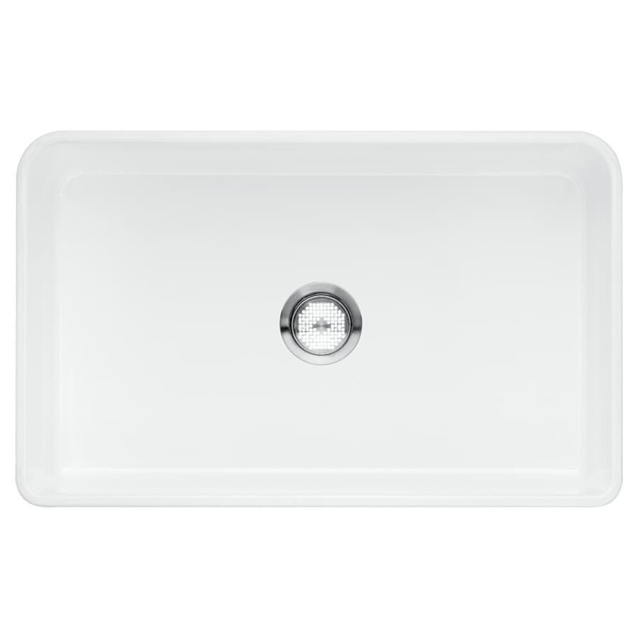 BLANCO Cerana 19-in x 30-in White Single-Basin Fireclay Apron Front/Farmhouse Residential Kitchen Sink