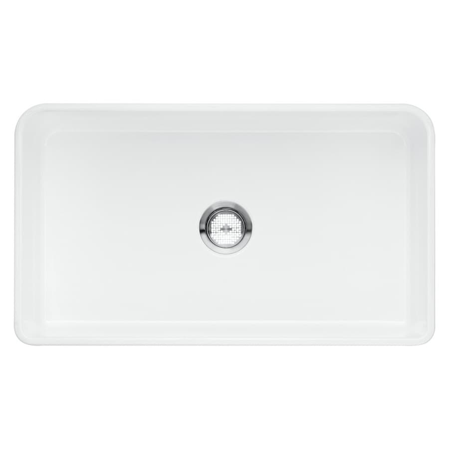 BLANCO Cerana 19-in x 33-in White Single-Basin Fireclay Apron Front/Farmhouse  Residential Kitchen Sink