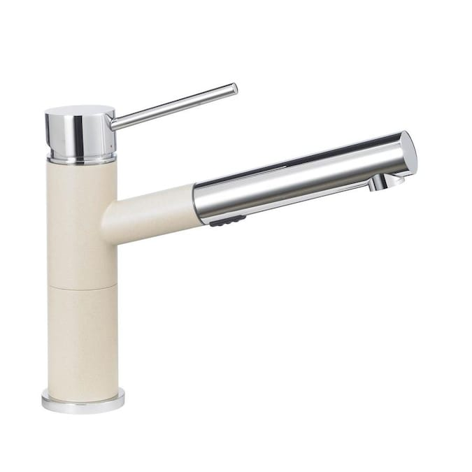 Blanco Alta Biscotti Chrome Off White 1 Handle Deck Mount Pull Out Handle Lever Residential Kitchen Faucet In The Kitchen Faucets Department At Lowes Com