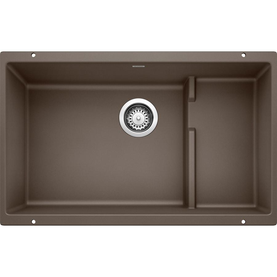 BLANCO Precis 28.75-in x 18.125-in Cafe Brown Single-Basin Granite Undermount Residential Kitchen Sink