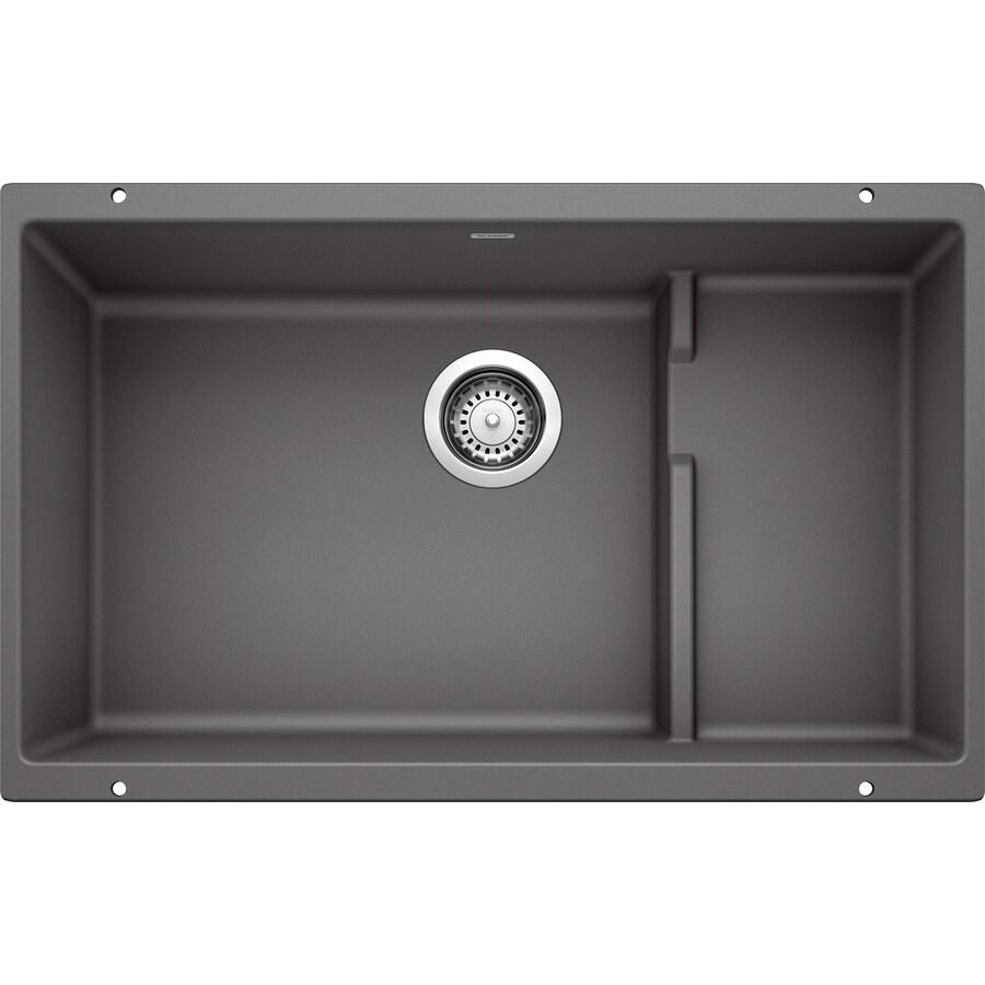 BLANCO Precis 28.75-in x 18.125-in Cinder Single-Basin Granite Undermount Residential Kitchen Sink