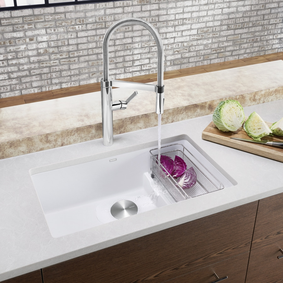 BLANCO Precis 28.75-in x 18.125-in White Single-Basin Granite Undermount Residential Kitchen Sink