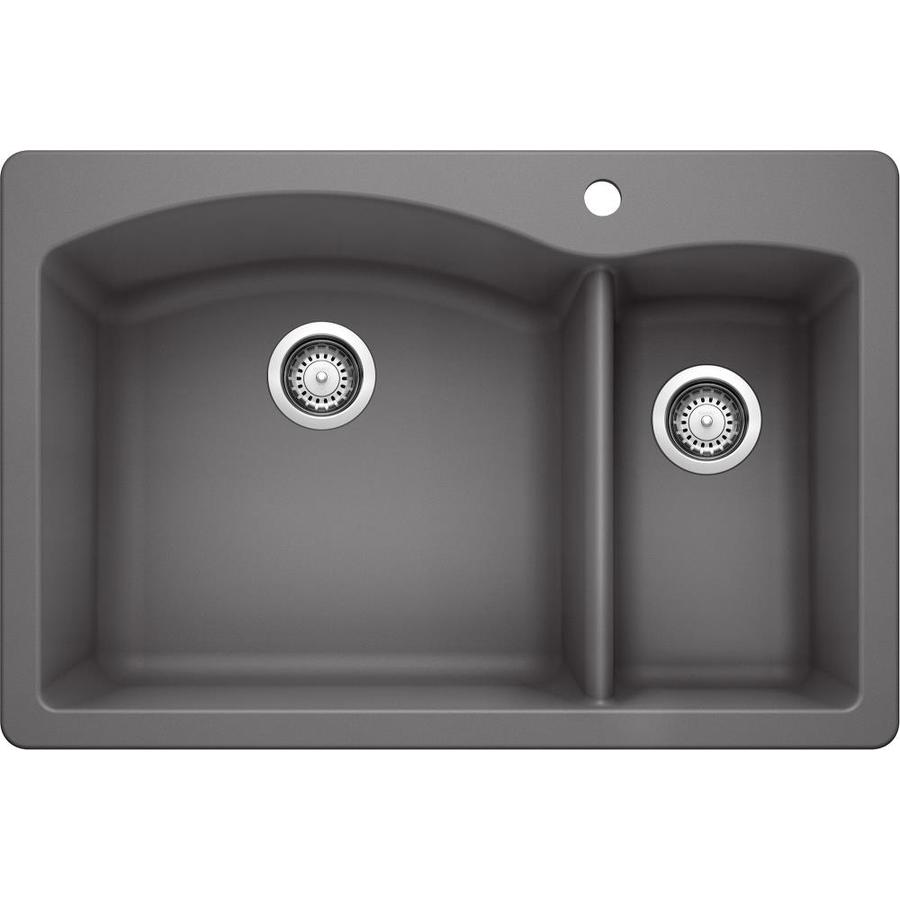 BLANCO Diamond 33-in x 22-in Cinder Double-Basin Granite Drop-In Or Undermount 1-Hole Residential Kitchen Sink