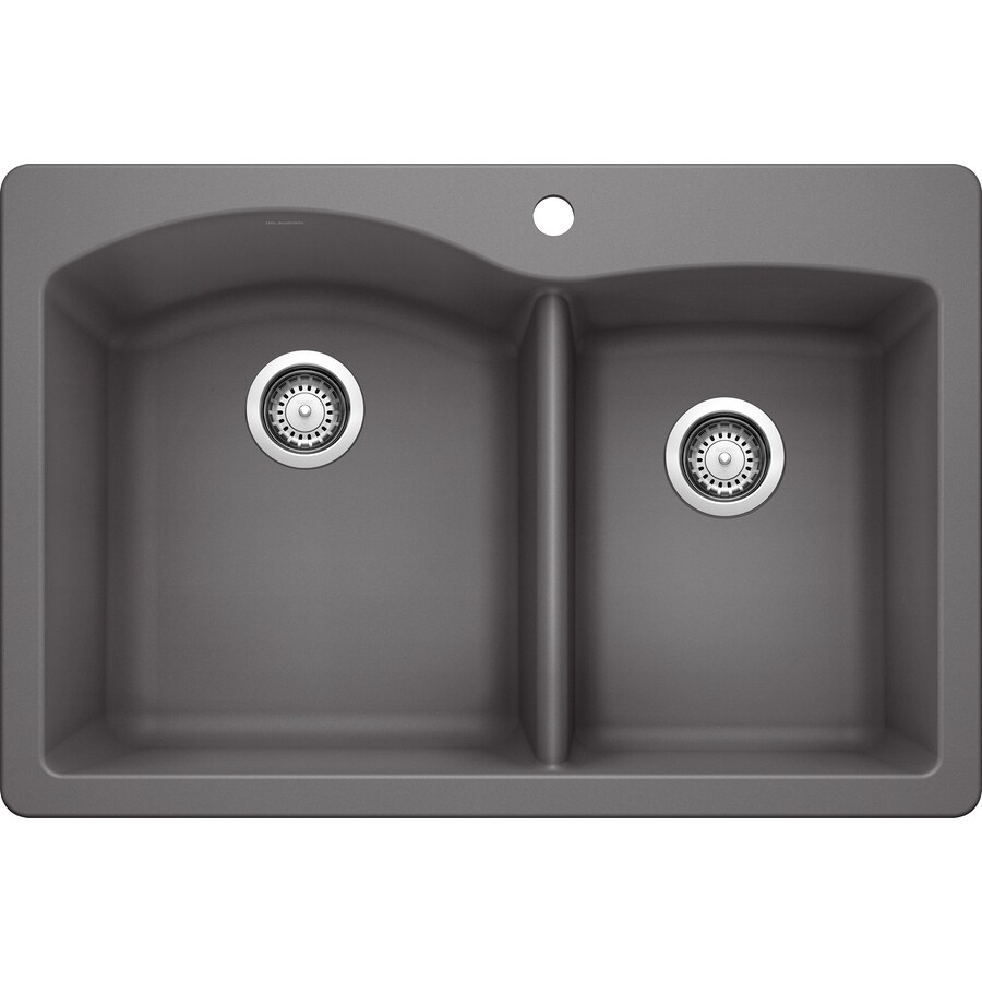 BLANCO Diamond 22-in x 33-in Cinder Double-Basin Granite Drop-in or Undermount 1-Hole Residential Kitchen Sink