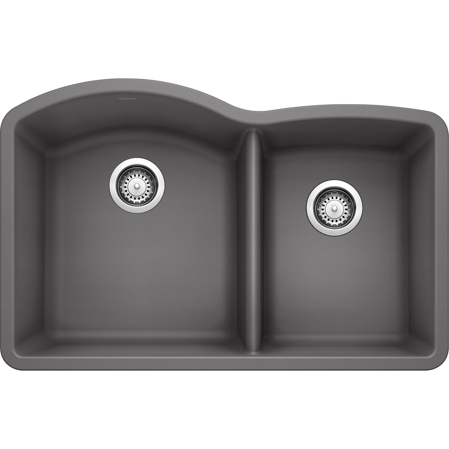 BLANCO Diamond 32.0-in x 20.843-in Cinder Double-Basin Granite Undermount Residential Kitchen Sink