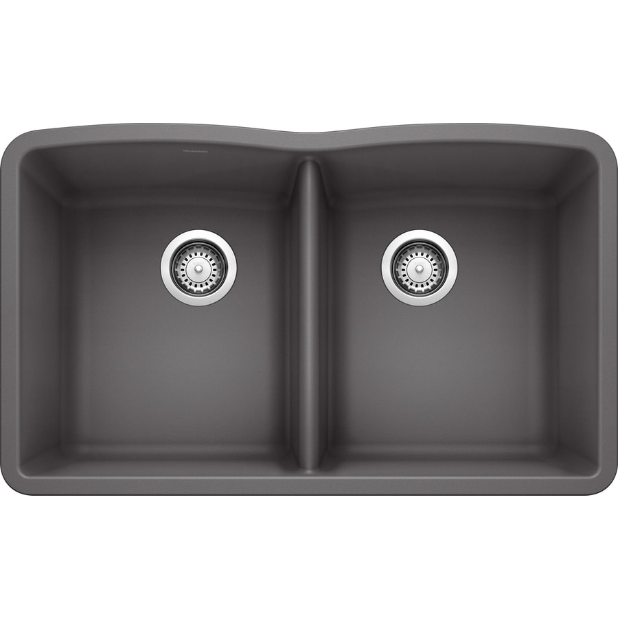 BLANCO Diamond 32-in x 19.25-in Cinder Double-Basin Granite Undermount Residential Kitchen Sink