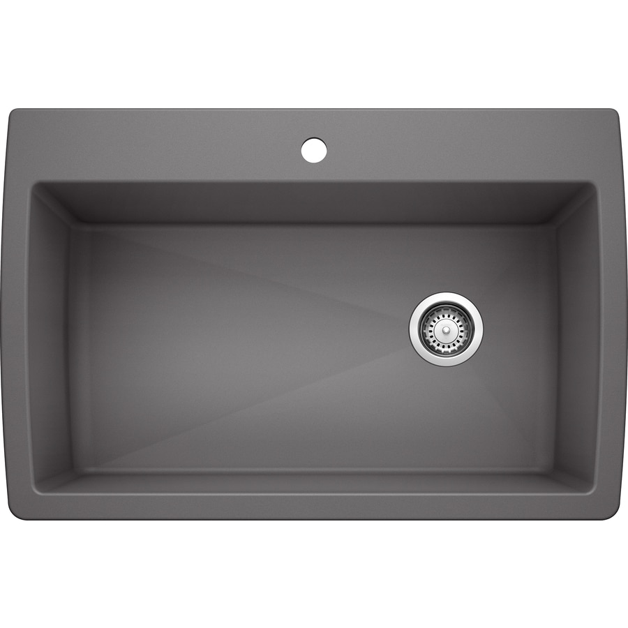 BLANCO Diamond 33.5-in x 22.0-in Cinder Single-Basin Granite Drop-in or Undermount 1-Hole Residential Kitchen Sink