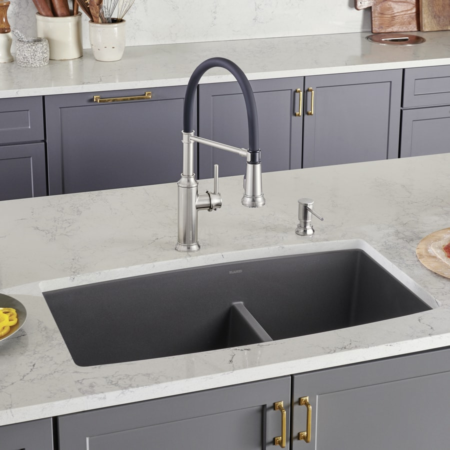 BLANCO Performa 33-in x 19-in Cinder (Gray) Double-Basin Granite Undermount Residential Kitchen Sink
