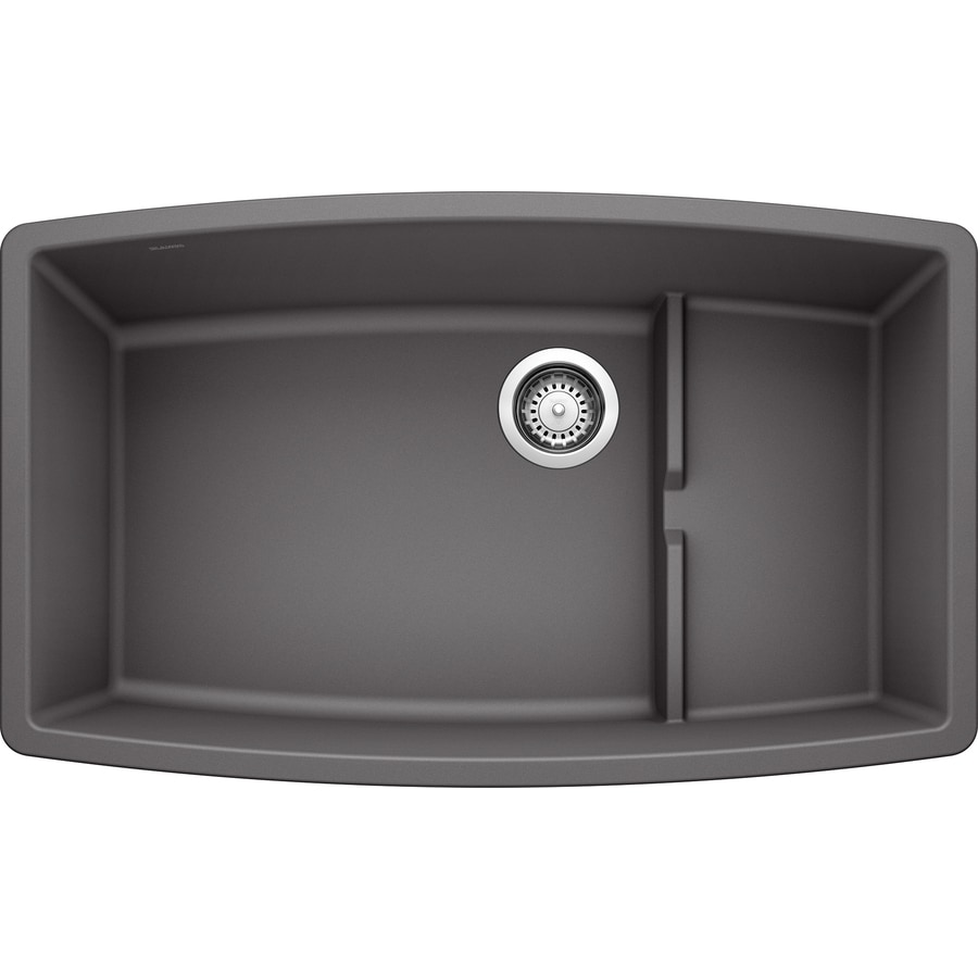 BLANCO Performa 19.5-in x 32-in Cinder Single-Basin Granite Undermount Residential Kitchen Sink