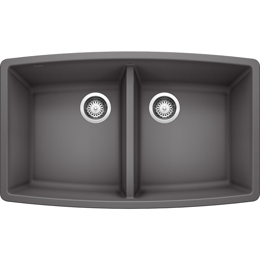 BLANCO Performa 33.0-in x 20.0-in Cinder Double-Basin Granite Undermount Residential Kitchen Sink