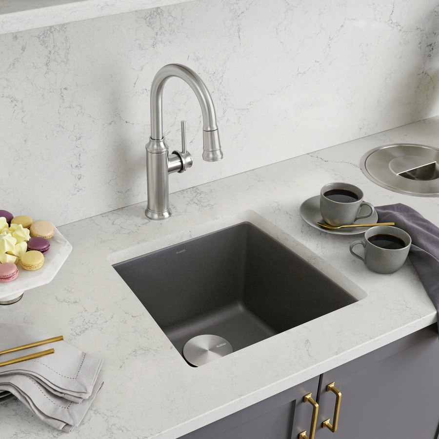 BLANCO Performa 17.5-in x 17-in Cinder (Gray) Single-Basin Granite Undermount Residential Kitchen Sink