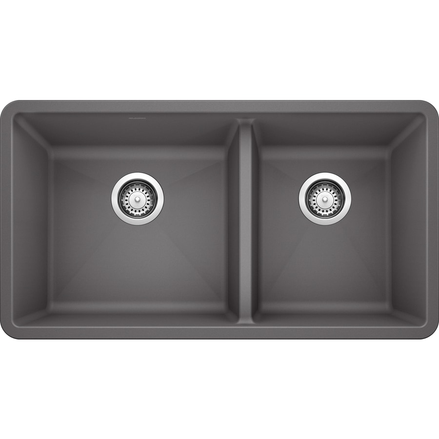 BLANCO Precis 33-in x 18-in Cinder (Gray) Double-Basin Granite Undermount Residential Kitchen Sink