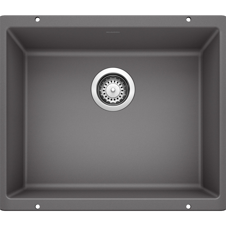 BLANCO Precis 18.11-in x 20.87-in Cinder Single-Basin-Basin Granite Undermount (Customizable)-Hole Residential Kitchen Sink