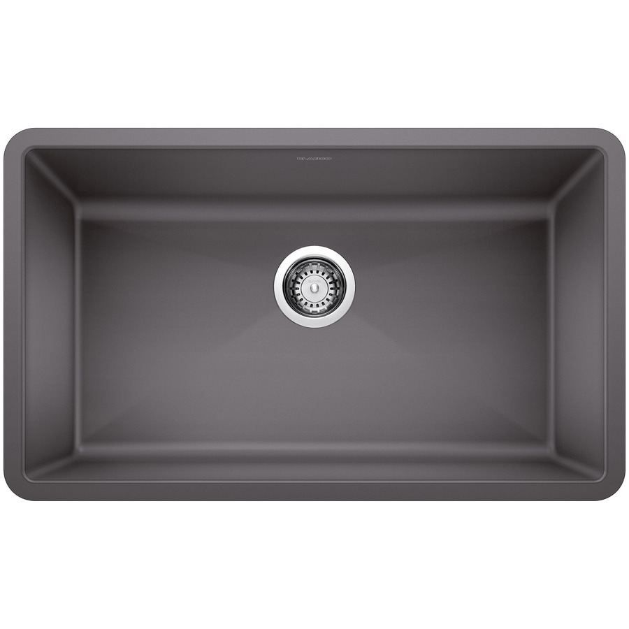 BLANCO Precis 18.75-in x 32-in Cinder Single-Basin Granite Undermount Residential Kitchen Sink