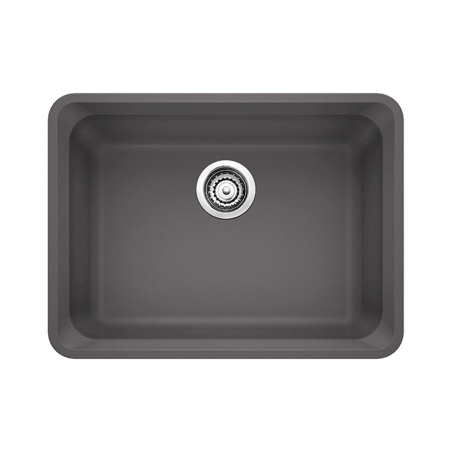 BLANCO Vision 18-in x 24-in Cinder Single-Basin-Basin Granite Undermount (Customizable)-Hole Residential Kitchen Sink