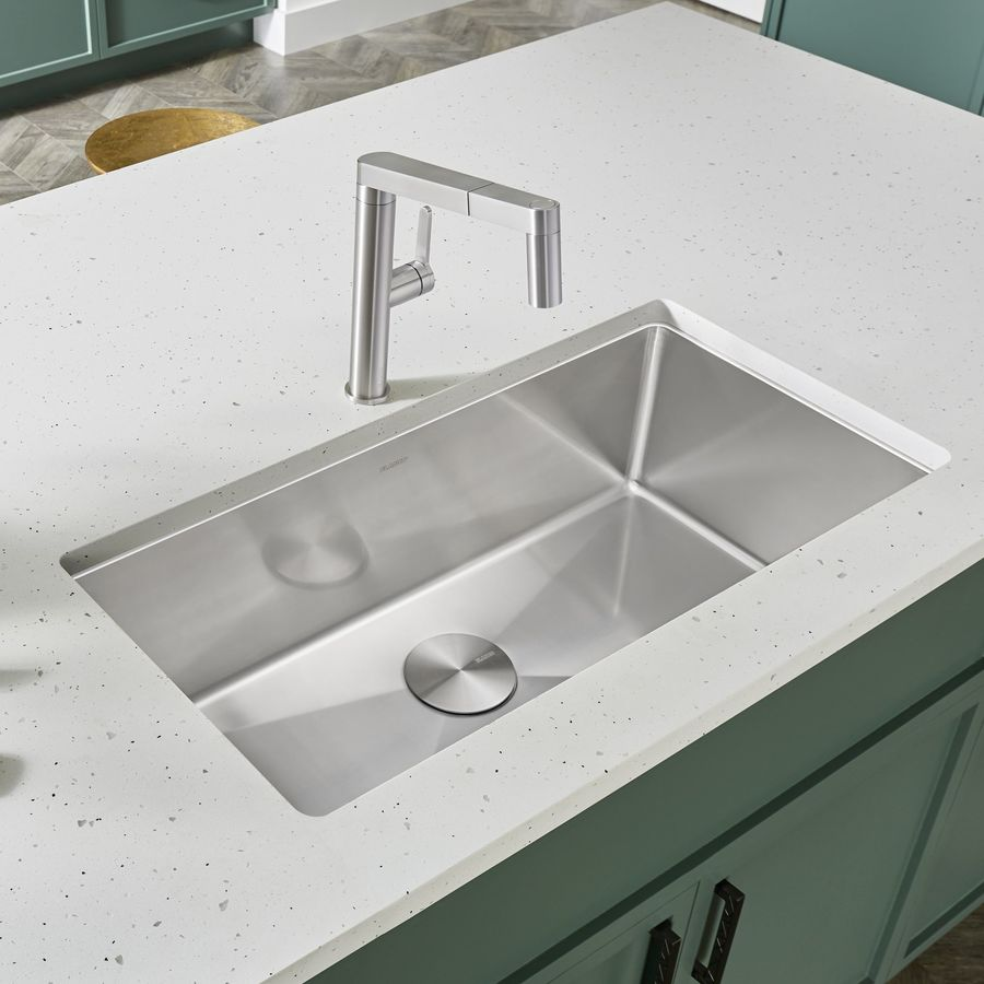 BLANCO Quatrus 32-in x 18-in Satin Single-Basin-Basin Stainless Steel Undermount (Customizable)-Hole Residential Kitchen Sink