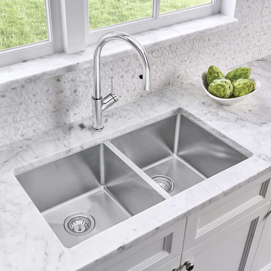 BLANCO Quatrus 32.0000-in x 18.0000-in Satin Double-Basin Stainless Steel Undermount Residential Kitchen Sink