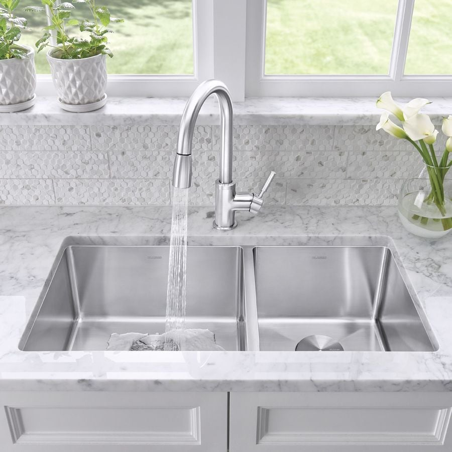 shop blanco quatrus 33-in x 18-in satin double-basin stainless