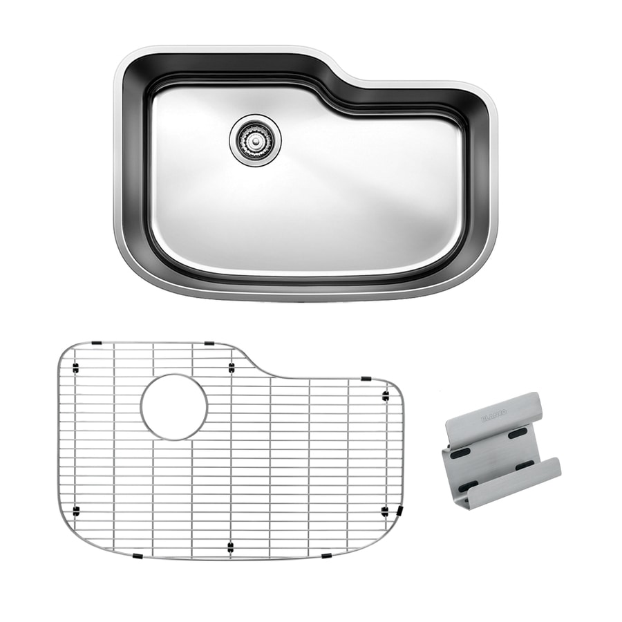BLANCO One 30.0-in x 20.0-in Satin Polished Single-Basin Stainless Steel Undermount Residential Kitchen Sink All-In-One Kit