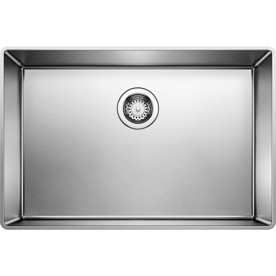 BLANCO Attika 20.5-in x 16.5-in Satin Polished Single-Basin Stainless Steel Drop-In Residential Kitchen Sink