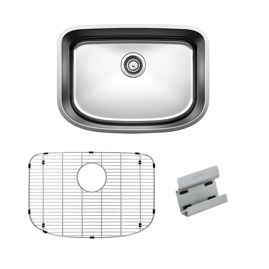 BLANCO One 25-in x 18-in Satin Polished Single-Basin Stainless Steel Undermount  Residential Kitchen Sink All-in-One Kit