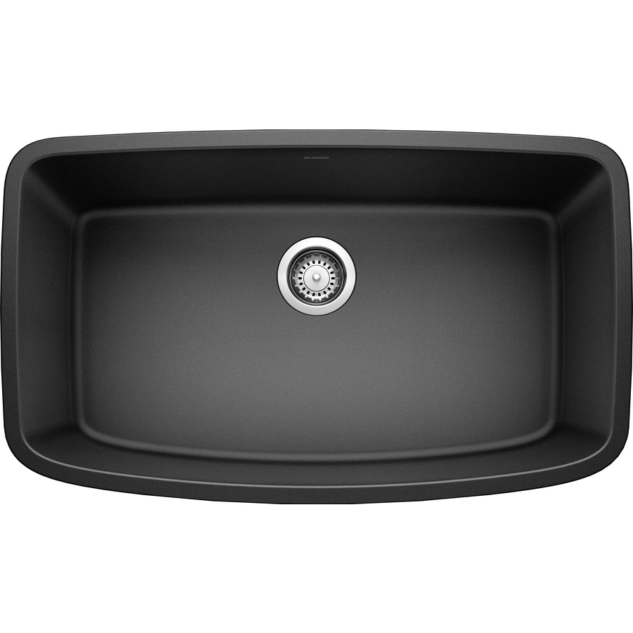 BLANCO Valea 19-in x 32-in Anthracite (Black) Single-Basin Granite Undermount Residential Kitchen Sink