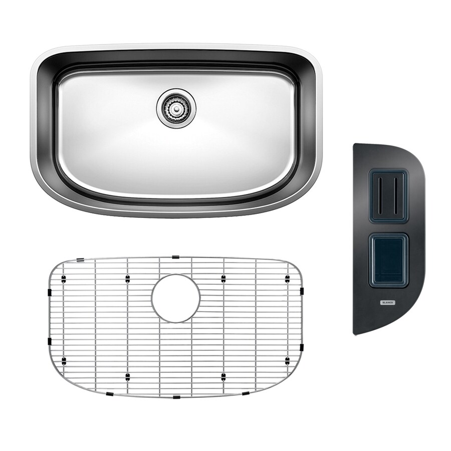 BLANCO One 30-in x 18-in Satin Polished Single-Basin Stainless Steel Undermount  Residential Kitchen Sink All-in-One Kit