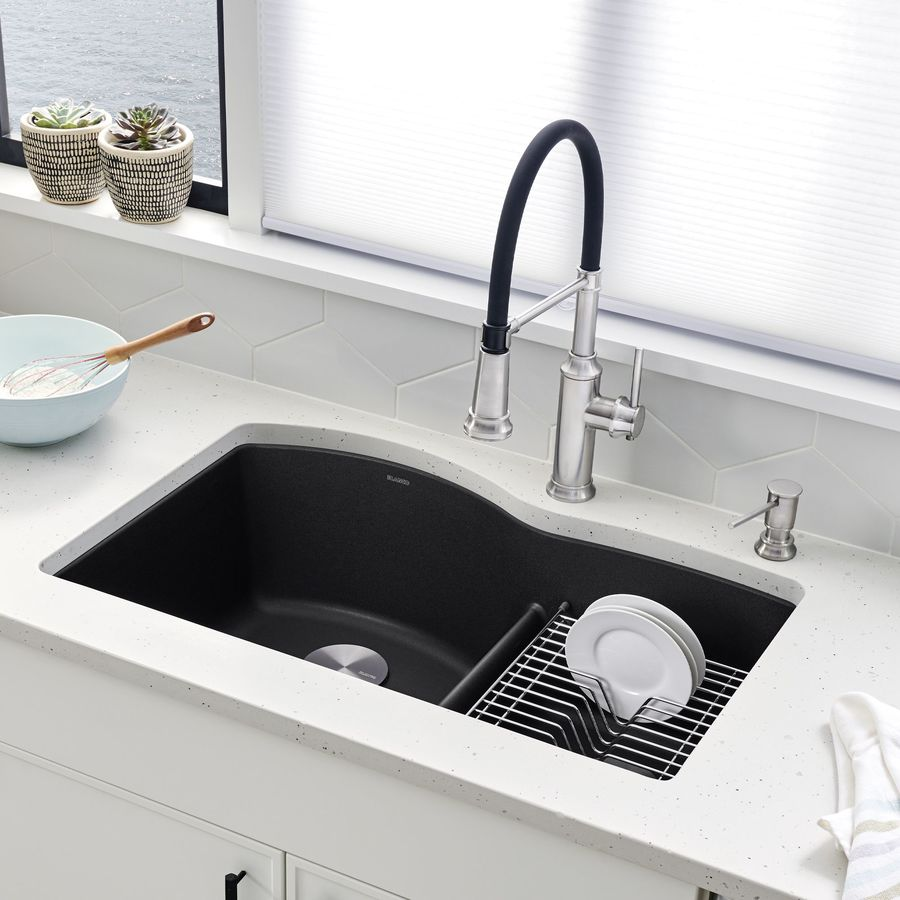 BLANCO Diamond 32-in x 20.875-in Anthracite (Black) Double-Basin Granite Undermount Residential Kitchen Sink