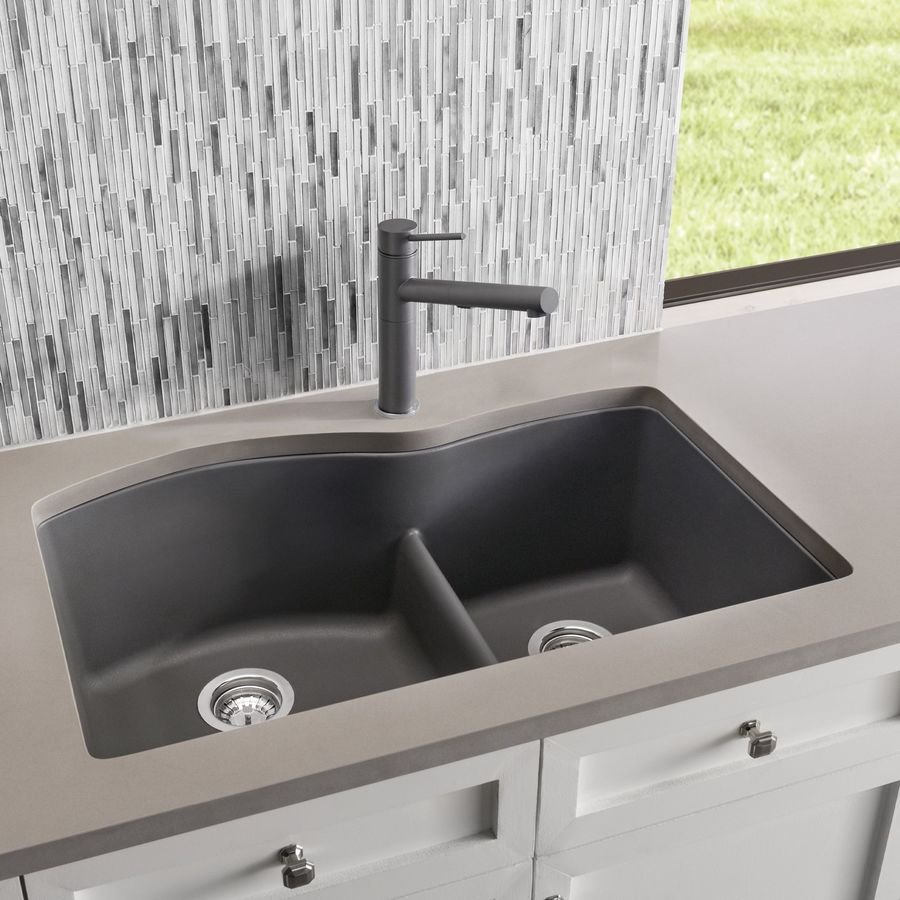 Diamond Kitchen Sink : ... 875-in Cinder Double-Basin Granite Undermount Residential Kitchen Sink