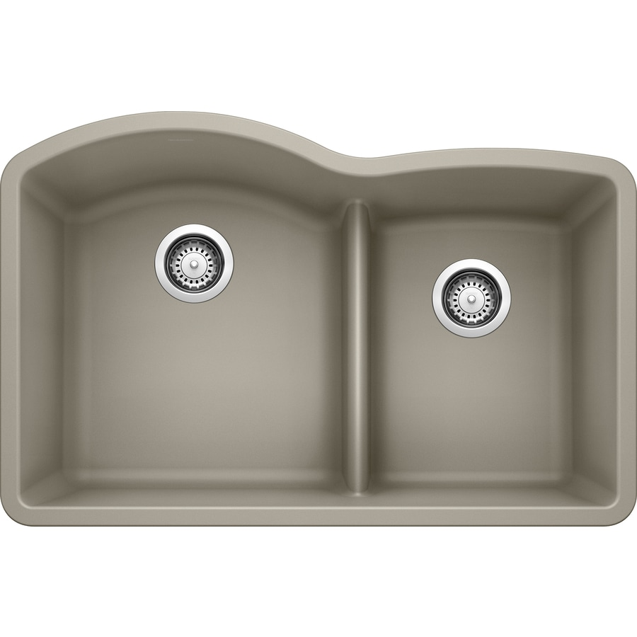 BLANCO Diamond 32-in x 20.875-in Truffle Double-Basin Granite Undermount Residential Kitchen Sink