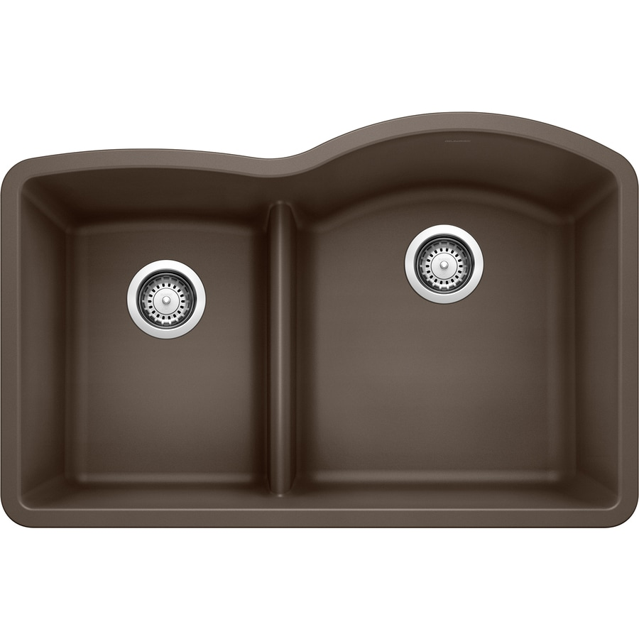 Shop BLANCO Diamond 32-in x 20.875-in Cafe Brown Double-Basin ...