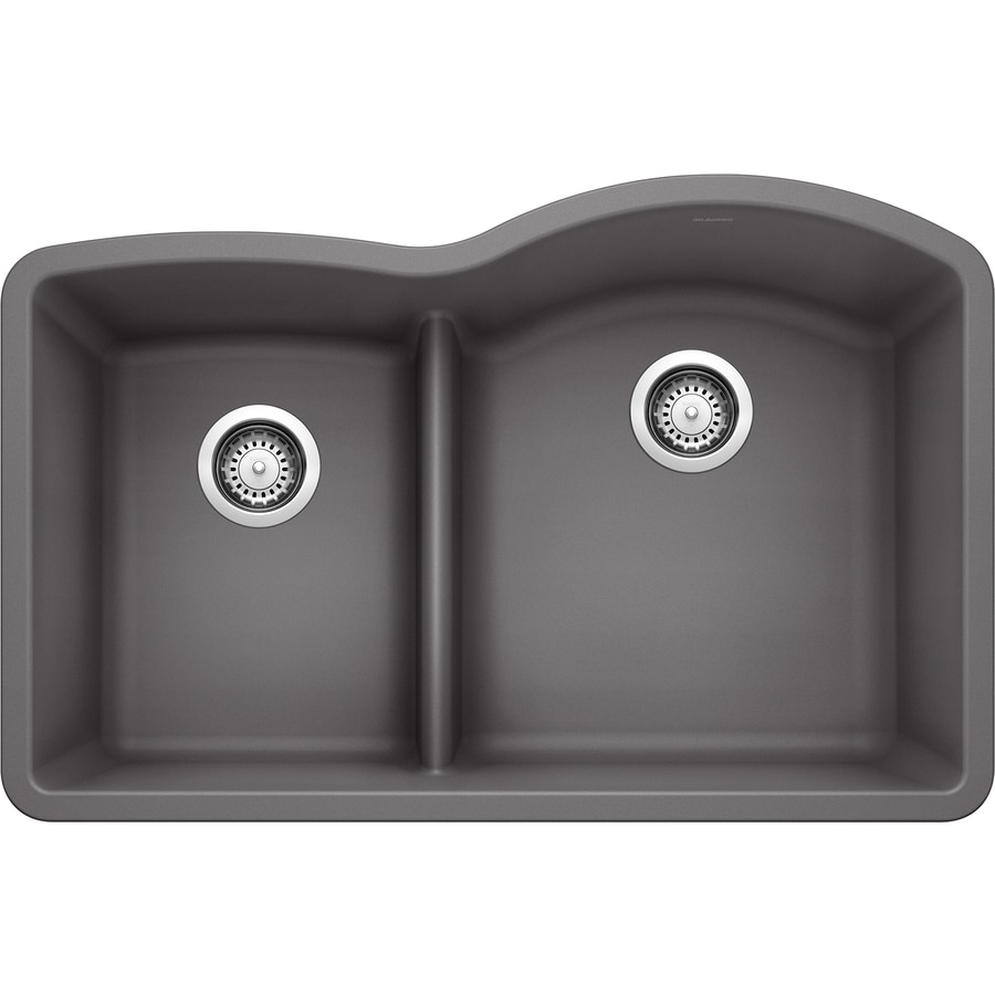 BLANCO Diamond 32-in x 20.875-in Cinder (Gray) Double-Basin Granite Undermount Residential Kitchen Sink