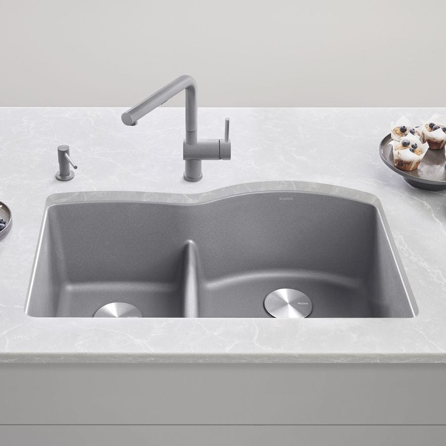 BLANCO Diamond 32.0-in x 20.875-in Metallic Gray Double-Basin Granite Undermount Residential Kitchen Sink