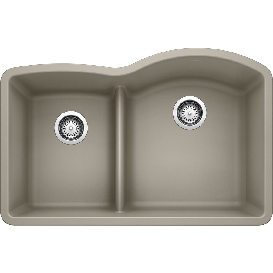 BLANCO Diamond 32-in x 20.875-in Truffle (Brown) Double-Basin Granite Undermount Residential Kitchen Sink