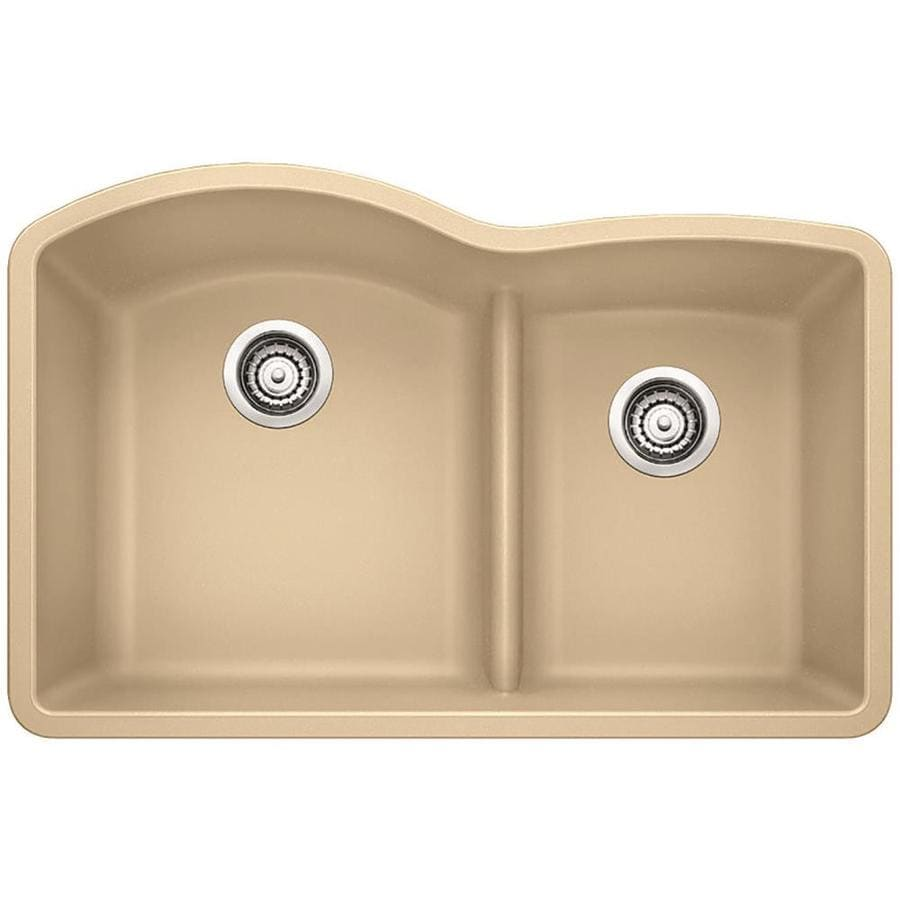 BLANCO Diamond 32-in x 20.875-in Biscotti (Off-white) Double-Basin Granite Undermount Residential Kitchen Sink