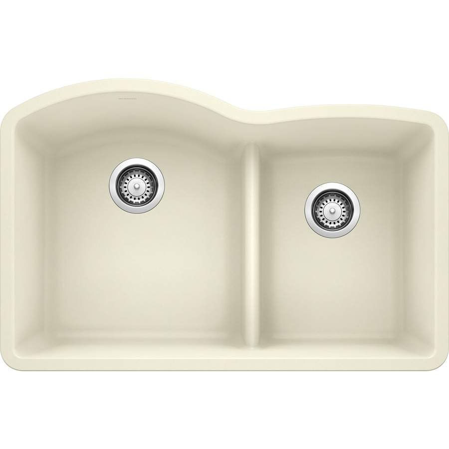BLANCO Diamond 32-in x 20.875-in Biscuit (Off-white) Double-Basin Granite Undermount Residential Kitchen Sink