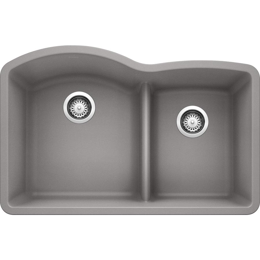 Blanco Diamond 32 In X 20 875 Metallic Gray Double Basin Undermount Residential