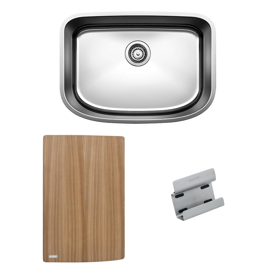 BLANCO One 25.0-in x 18.0-in Satin Polished Single-Basin Stainless Steel Undermount Residential Kitchen Sink All-In-One Kit