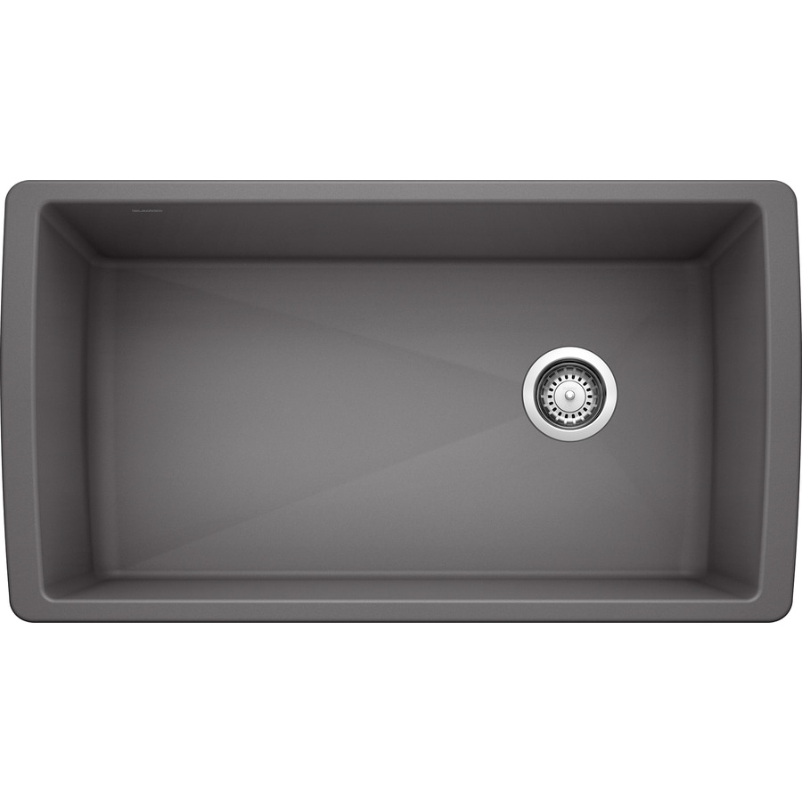 BLANCO Diamond 18.5-in x 33.5-in Cinder (Gray) Single-Basin Granite Undermount Residential Kitchen Sink