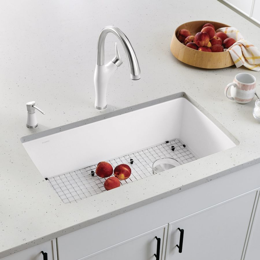 BLANCO Diamond 18.5-in x 33.5-in White Single-Basin Granite Undermount Residential Kitchen Sink