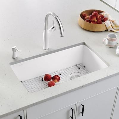 Diamond 32.5-in x 18.5-in White Single Bowl Undermount Residential Kitchen  Sink