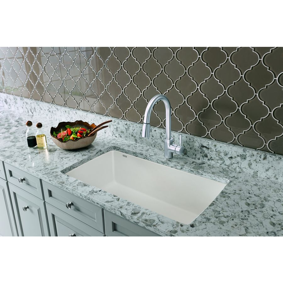 BLANCO Diamond 18.5-in x 33.5-in Biscuit Single-Basin Granite Undermount Residential Kitchen Sink