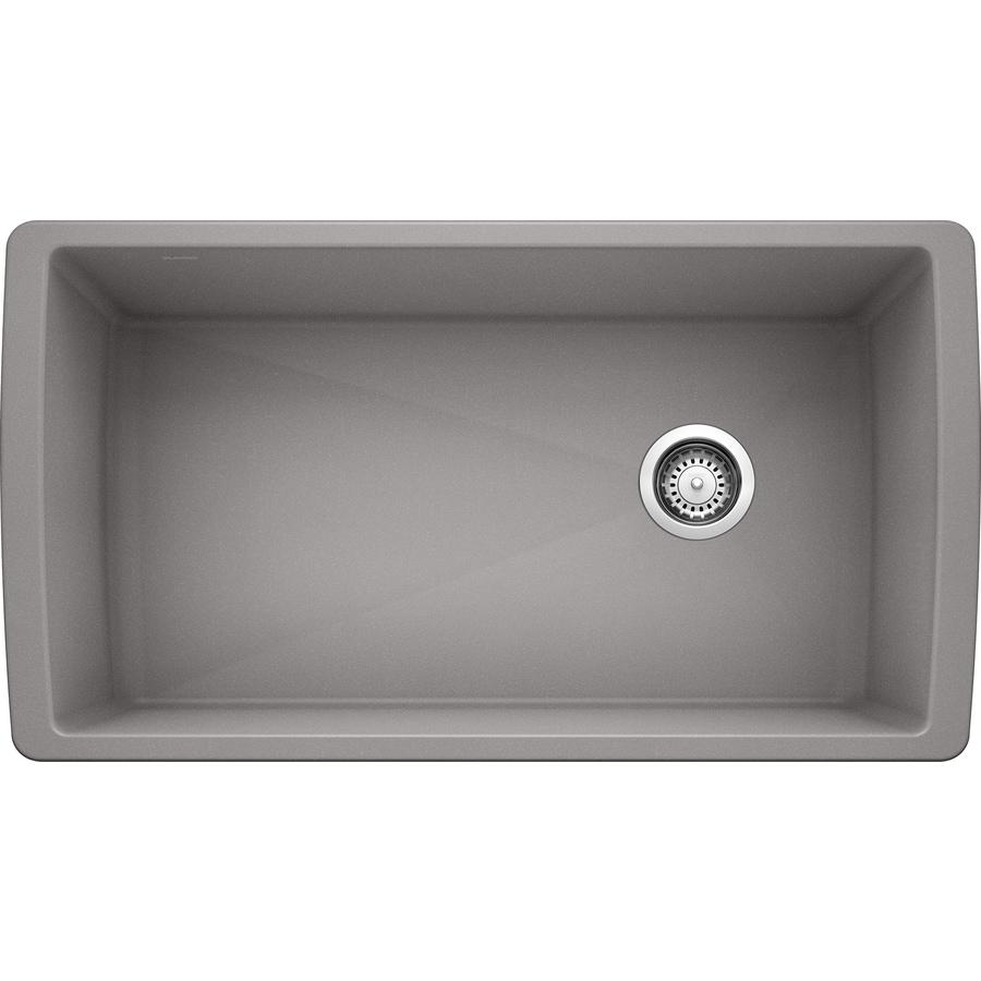 BLANCO Diamond 18.5-in x 33.5-in Metallic Gray Single-Basin Granite Undermount Residential Kitchen Sink