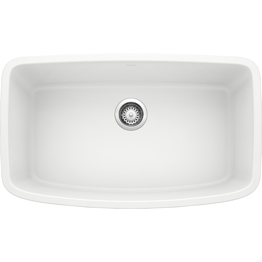 BLANCO Valea 19-in x 32-in White Single-Basin Granite Undermount Residential Kitchen Sink