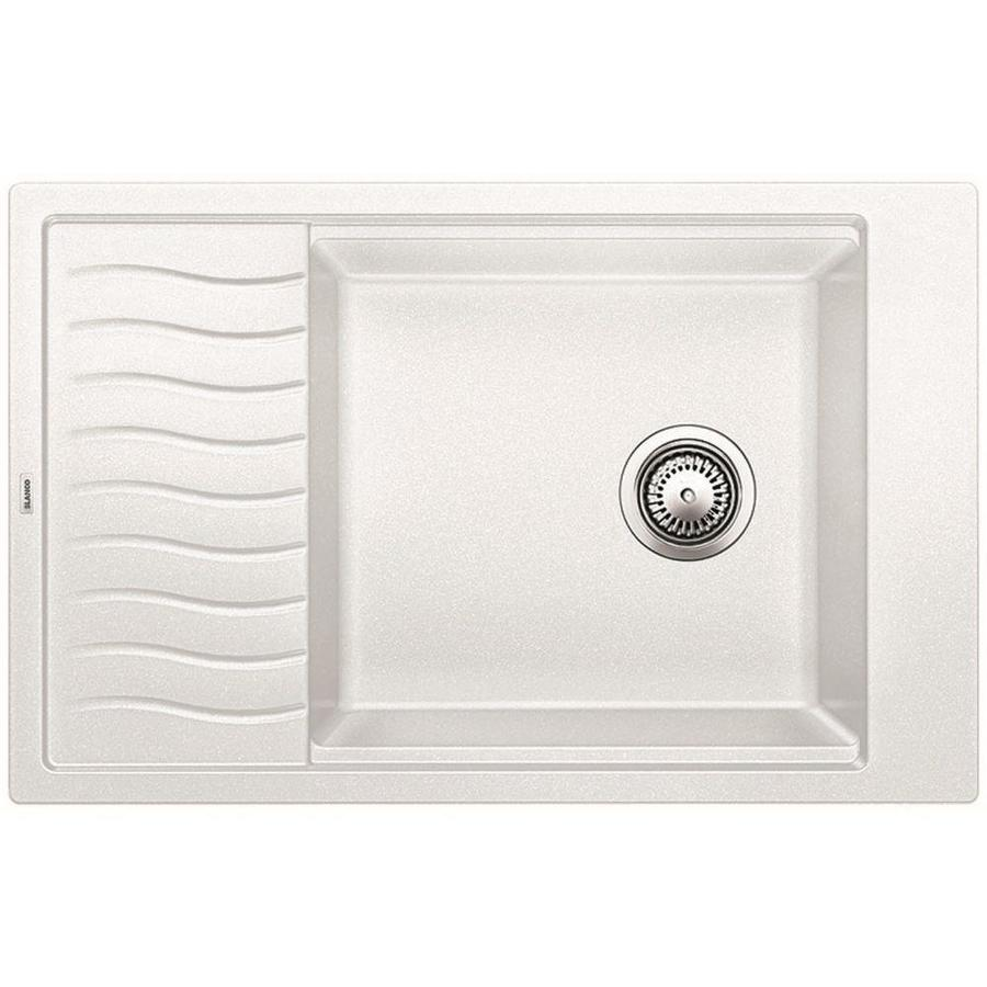 BLANCO Precis 19.6875-in x 30.6875-in White Single-Basin Granite Drop-in or Undermount Residential Kitchen Sink Drainboard Included