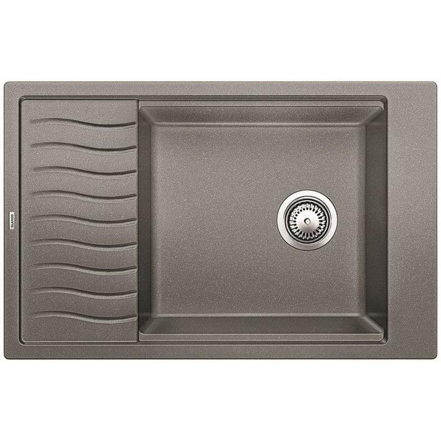BLANCO Precis 30.6875-in x 19.6875-in Metallic Gray (Gray) Single-Basin Granite Drop-In Residential Kitchen Sink with Drainboard