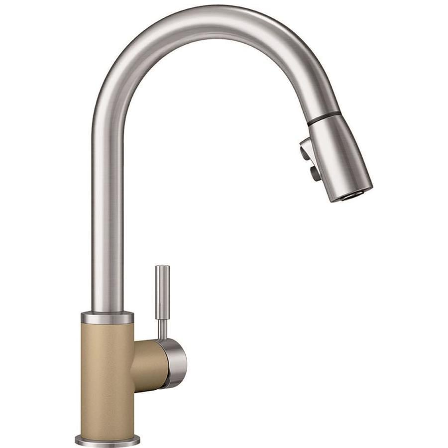 blanco faucets kitchen shop blanco sonoma biscotti stainless 1 handle deck mount 10751