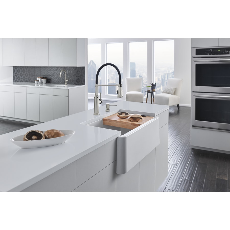 BLANCO Ikon 30-in x 19-in White Single-Basin Granite Apron Front/Farmhouse Residential Kitchen Sink