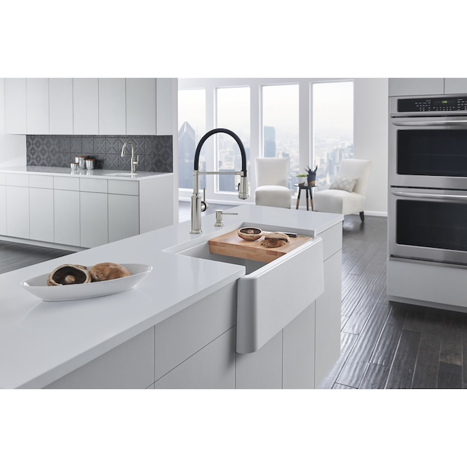 Blanco Ikon Undermount Apron Front Farmhouse 30 In X 19 In White Single Bowl Kitchen Sink In The Kitchen Sinks Department At Lowes Com